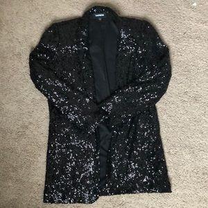 Express Black Sequin Boyfriend Blazer Size Small